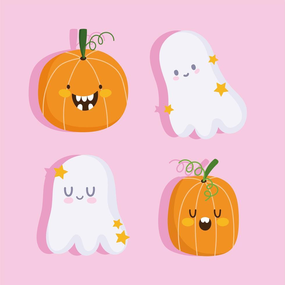 joyeux halloween fantômes et citrouilles drôles ensemble vecteur