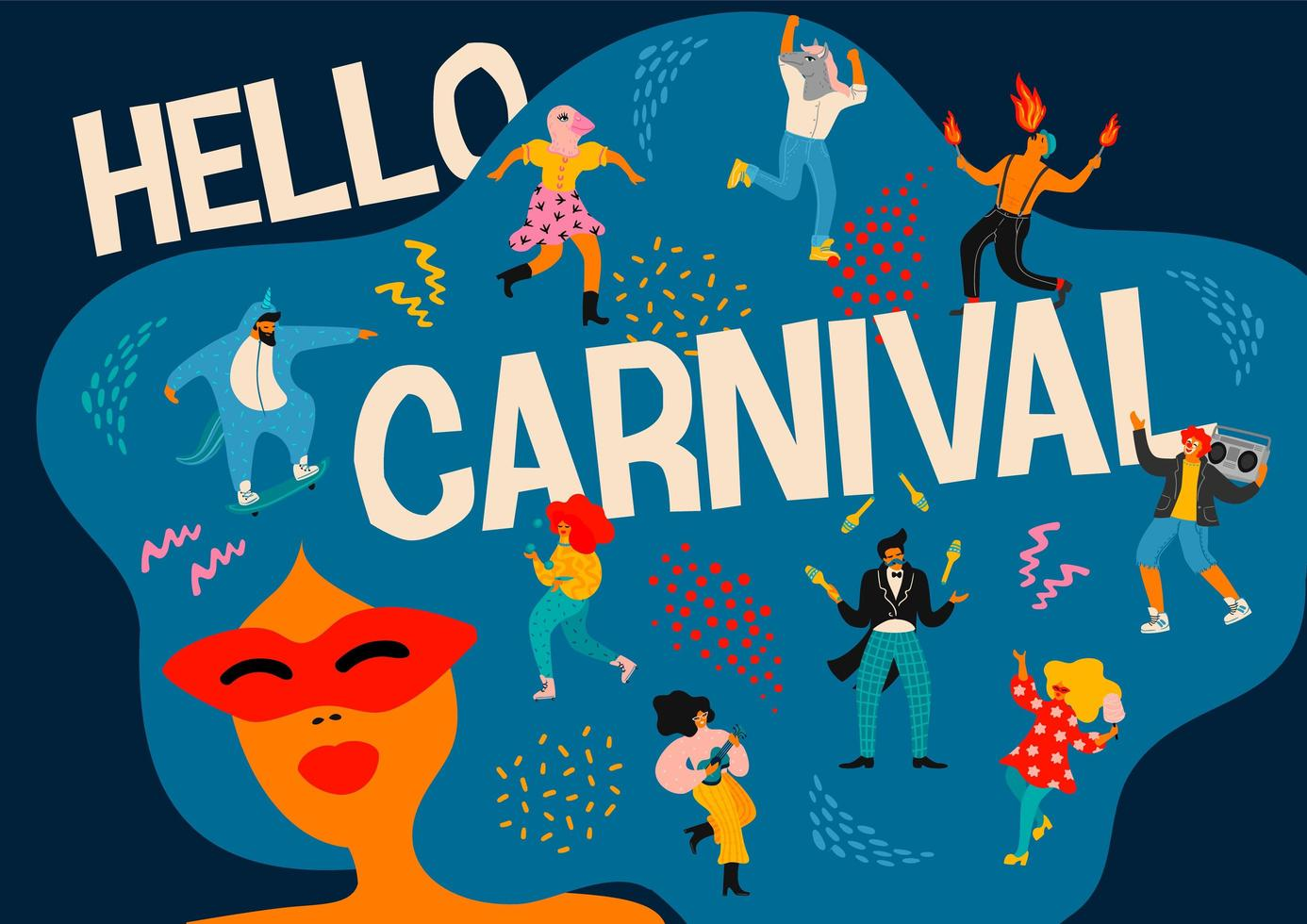 Hallo Karneval horizontales Plakat mit Menschen feiern vektor
