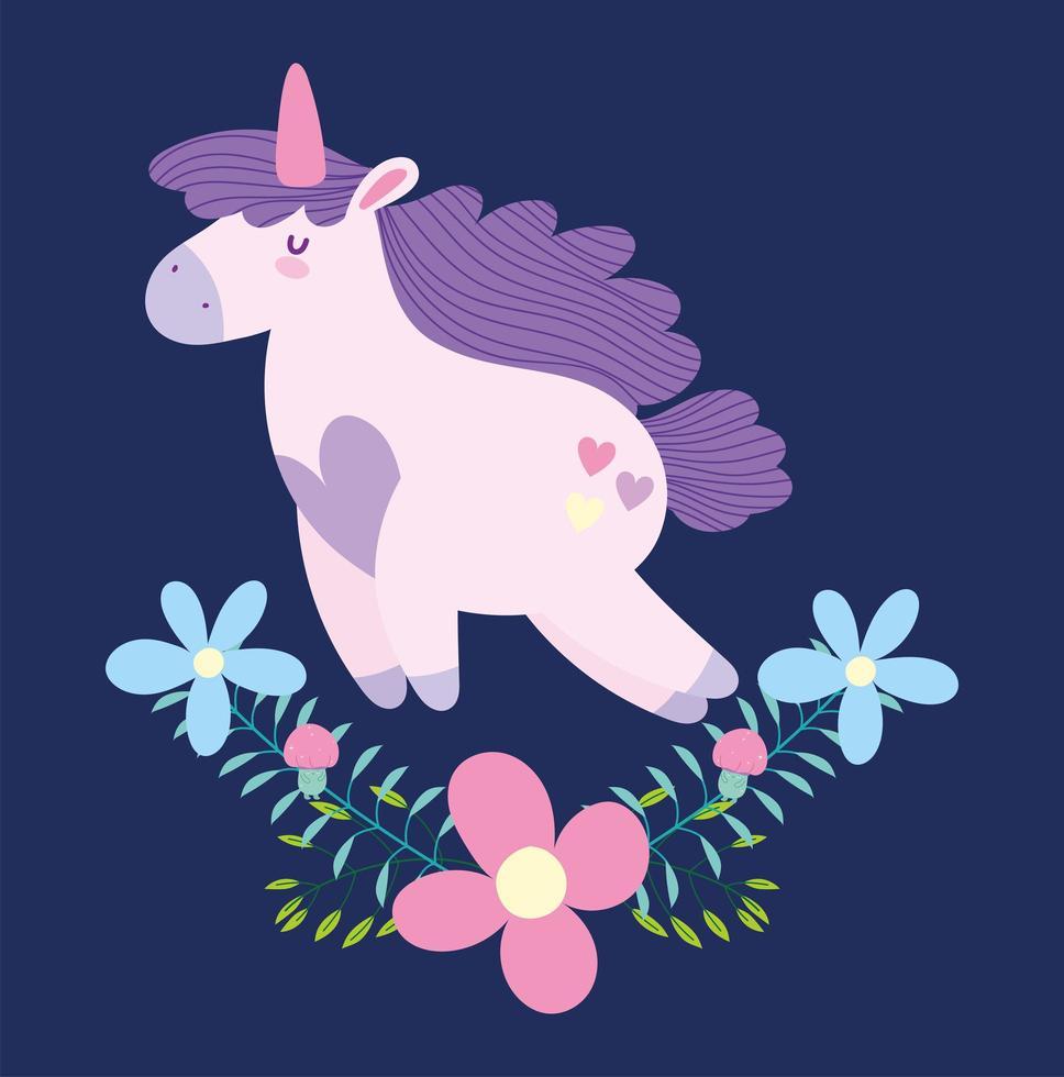 cartoon Eenhoorn met bloemen vector