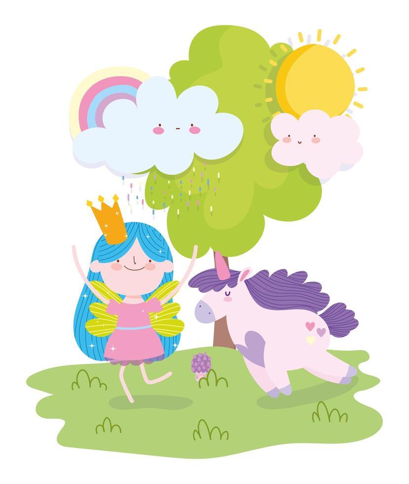 kleine sprookjesprinses met eenhoorn buitenshuis vector