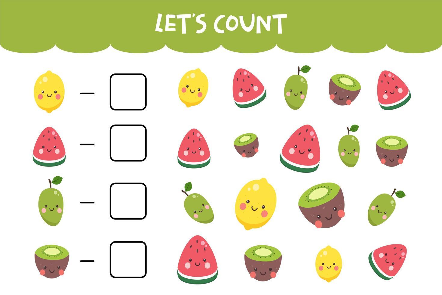 jeu de comptage avec de jolis fruits colorés vecteur
