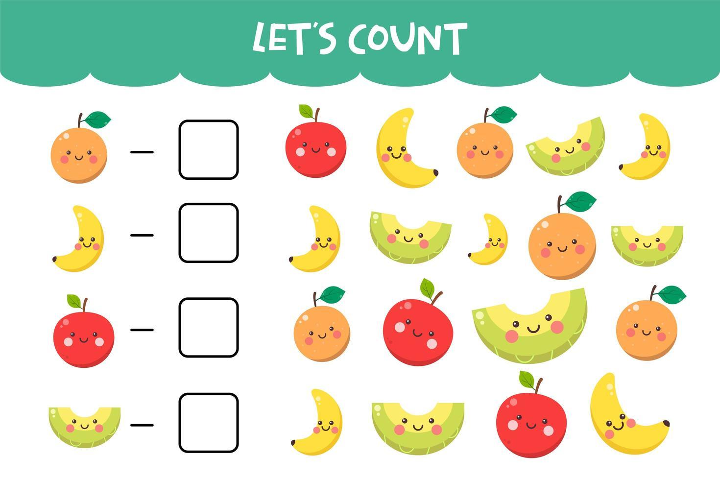 Zählspiel mit niedlichen fröhlichen Früchten vektor