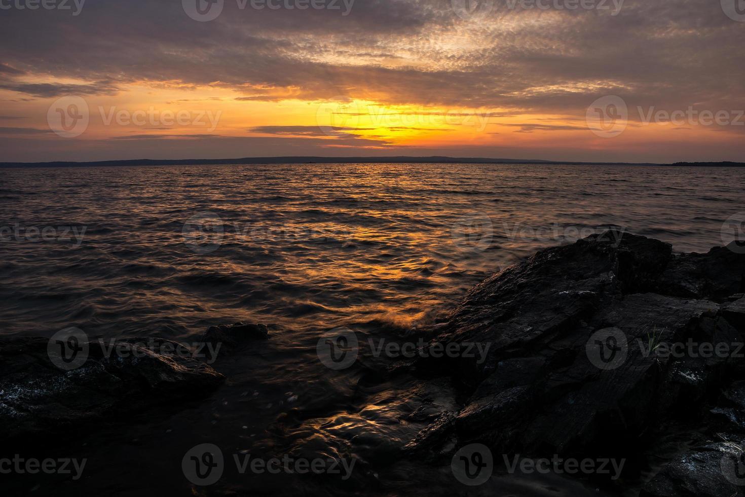 Sunset by swedish lake - Travel and landscape background photo