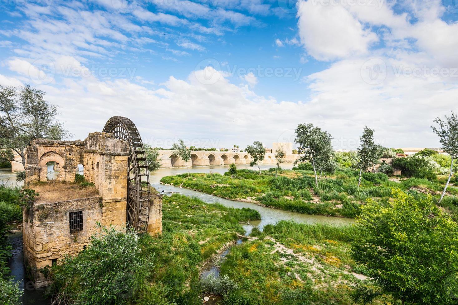 Ancient water mill and Roman Bridge photo