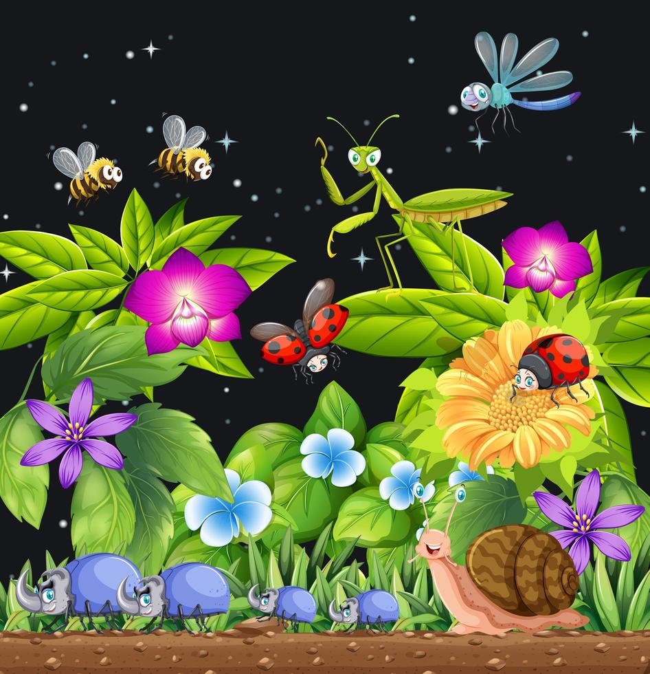 insectos que viven en la escena del jardín por la noche. vector
