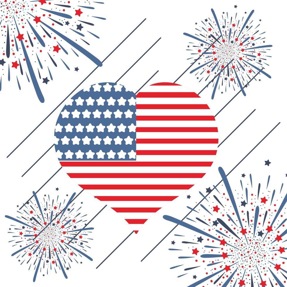 Corazón de bandera con fuegos artificiales para el día de la independencia de EE. UU. vector