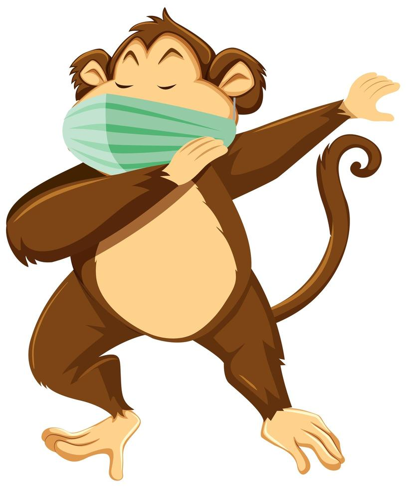 Monkey cartoon character wearing a mask vector