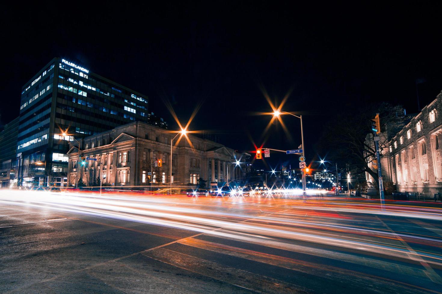 Asphalt road night view photo