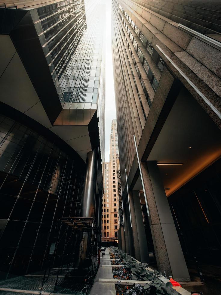 Fotografía de ángulo bajo de edificios de gran altura. foto