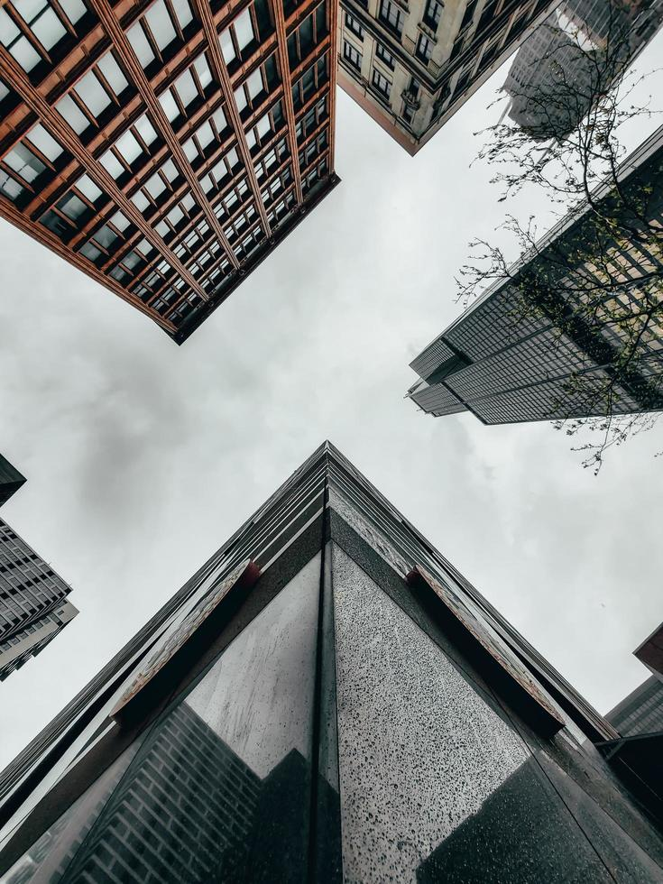 Worm's eye view of buildings photo