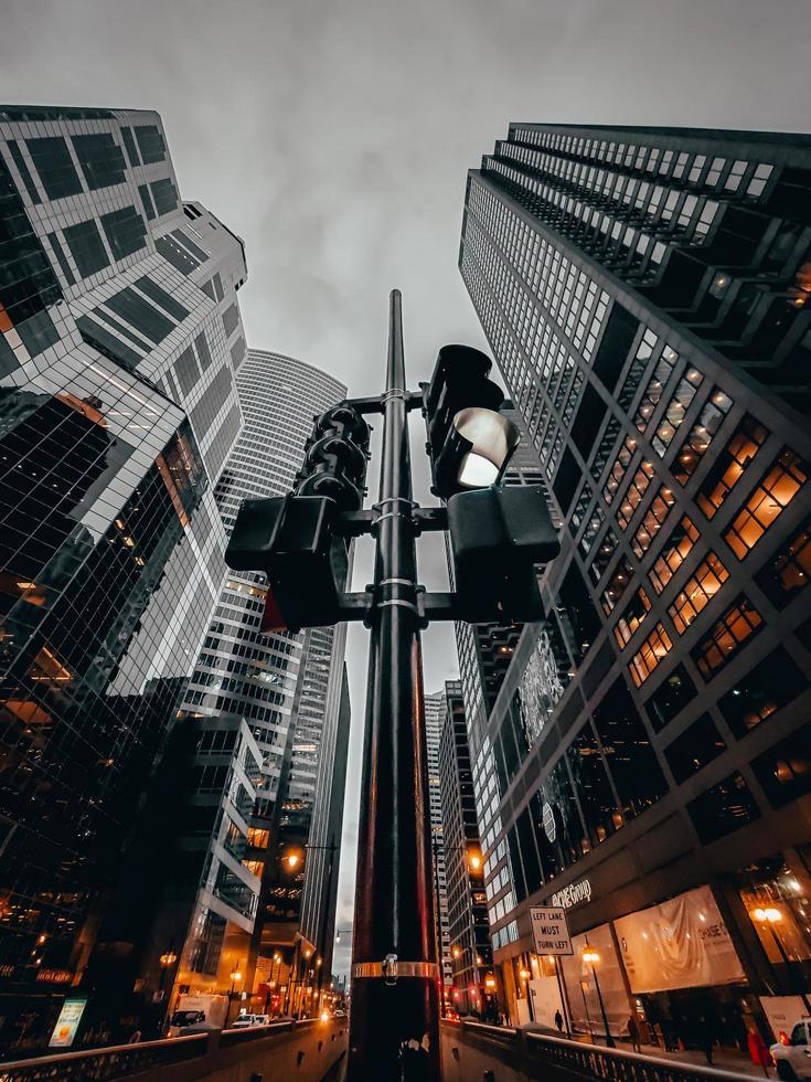 Low-angle photography of city skyline photo