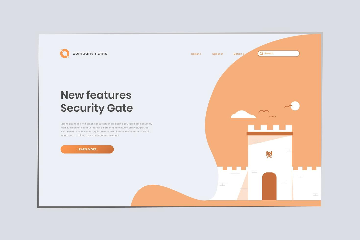 New Features Security Gate, Seljuk Landing Page Template vector