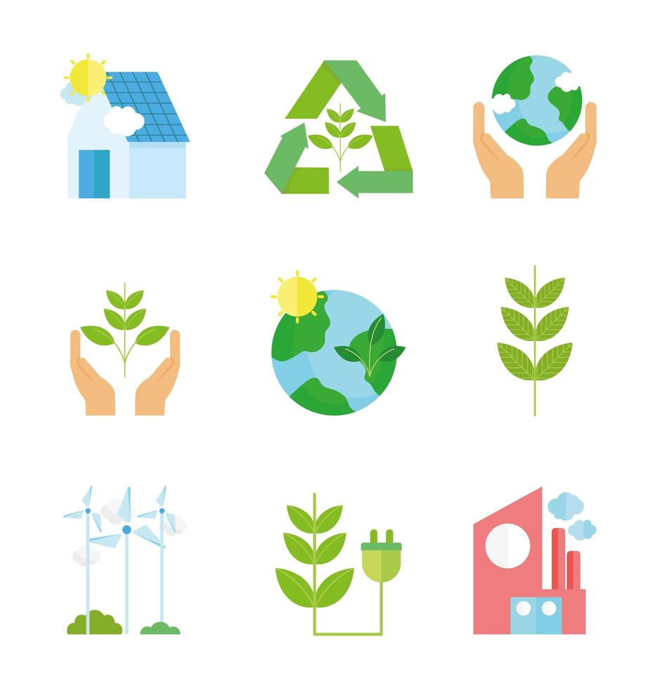 Ecology and recycling icon collection  vector