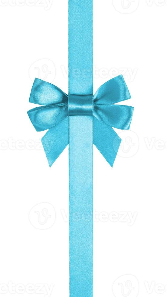 azure blue ribbon bow vertical border photo