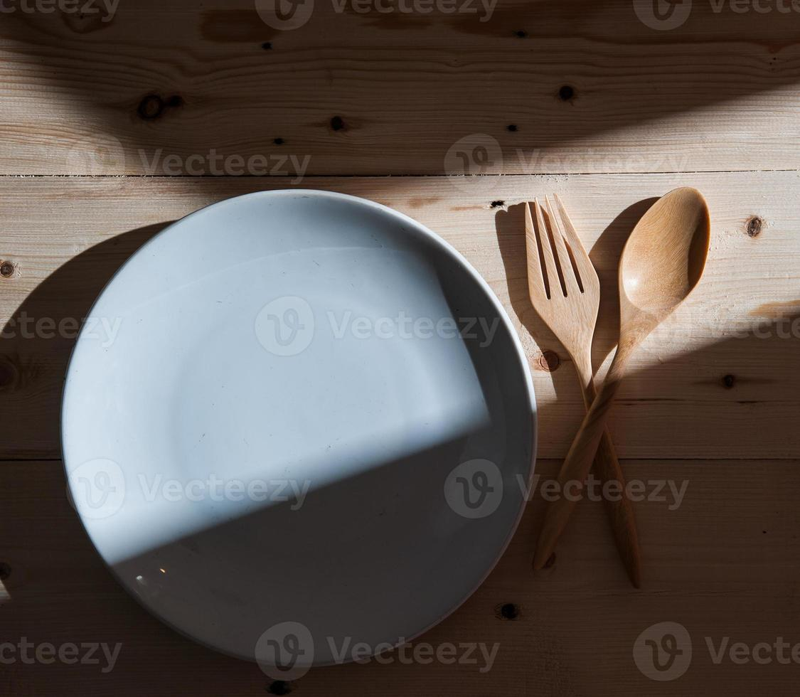 plate with fork and spoon photo