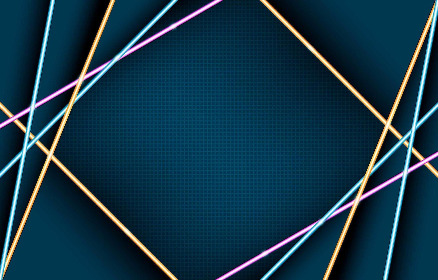 Glowing Geometric Neon Lights Composition vector