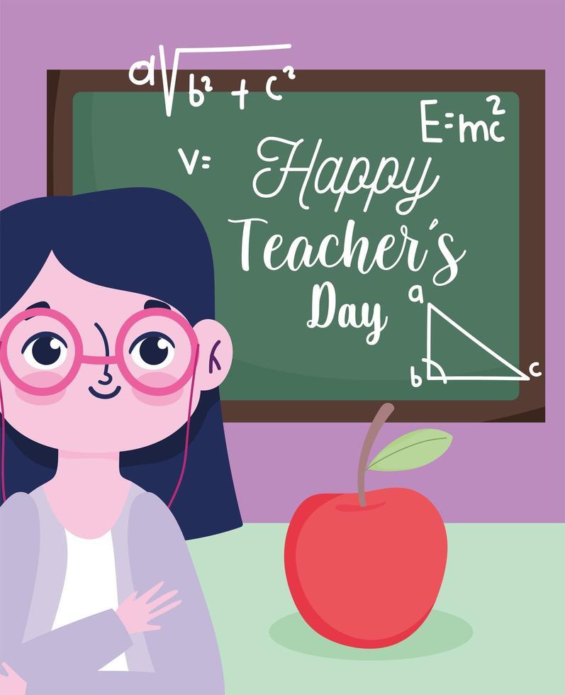 feliz dia del maestro saludo diseño vector