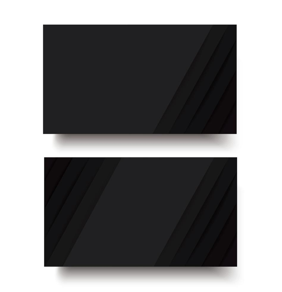 Black lines double sided business card template vector