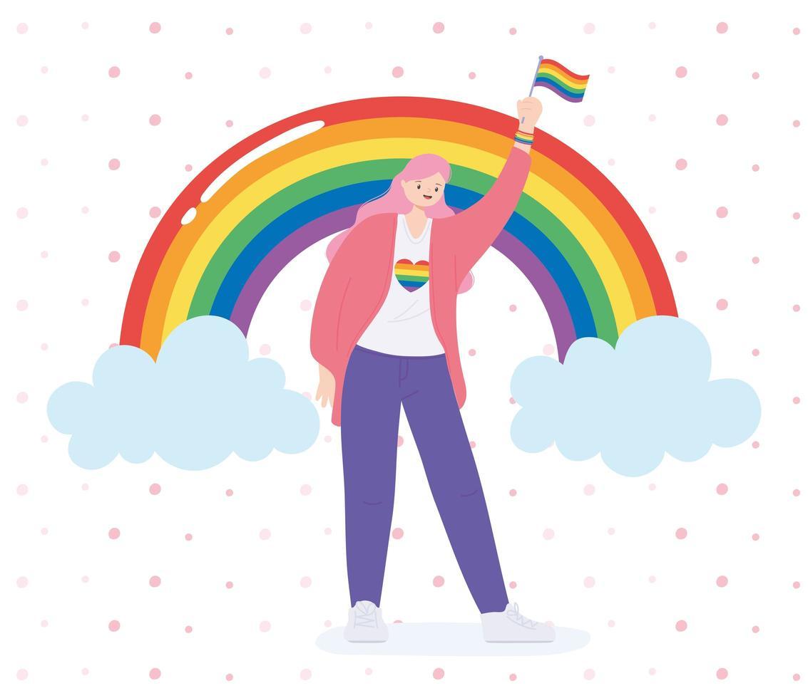 persona sosteniendo una bandera del arco iris para la celebración lgbtq vector