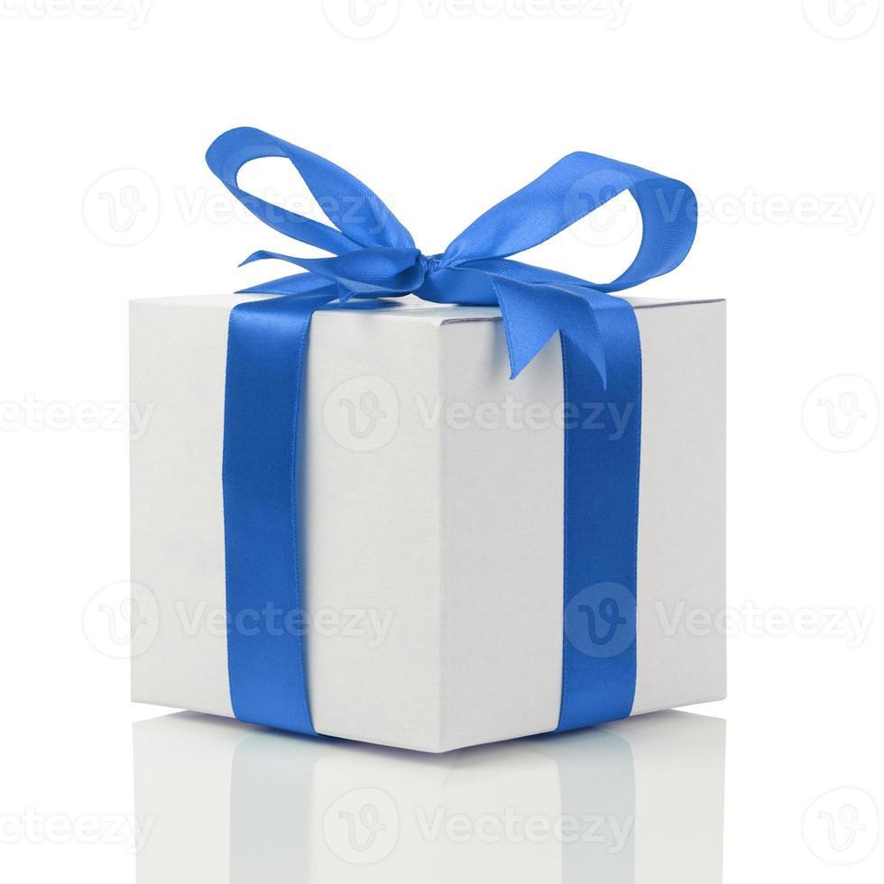 gift box with handmade blue ribbon bow photo