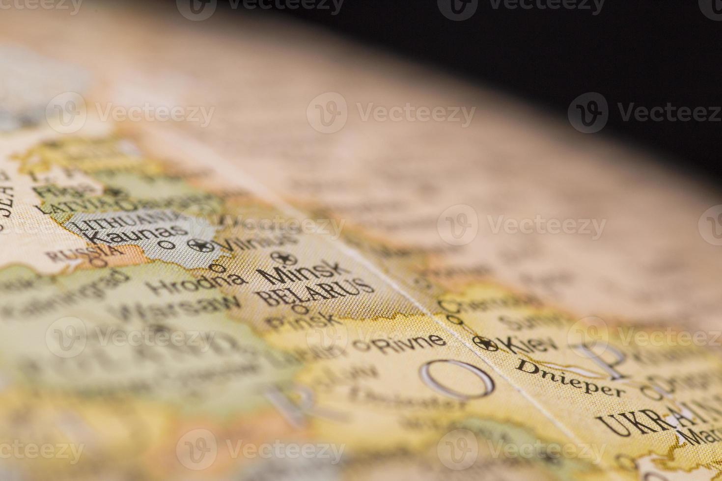 Macro globe map detail of Belarus photo