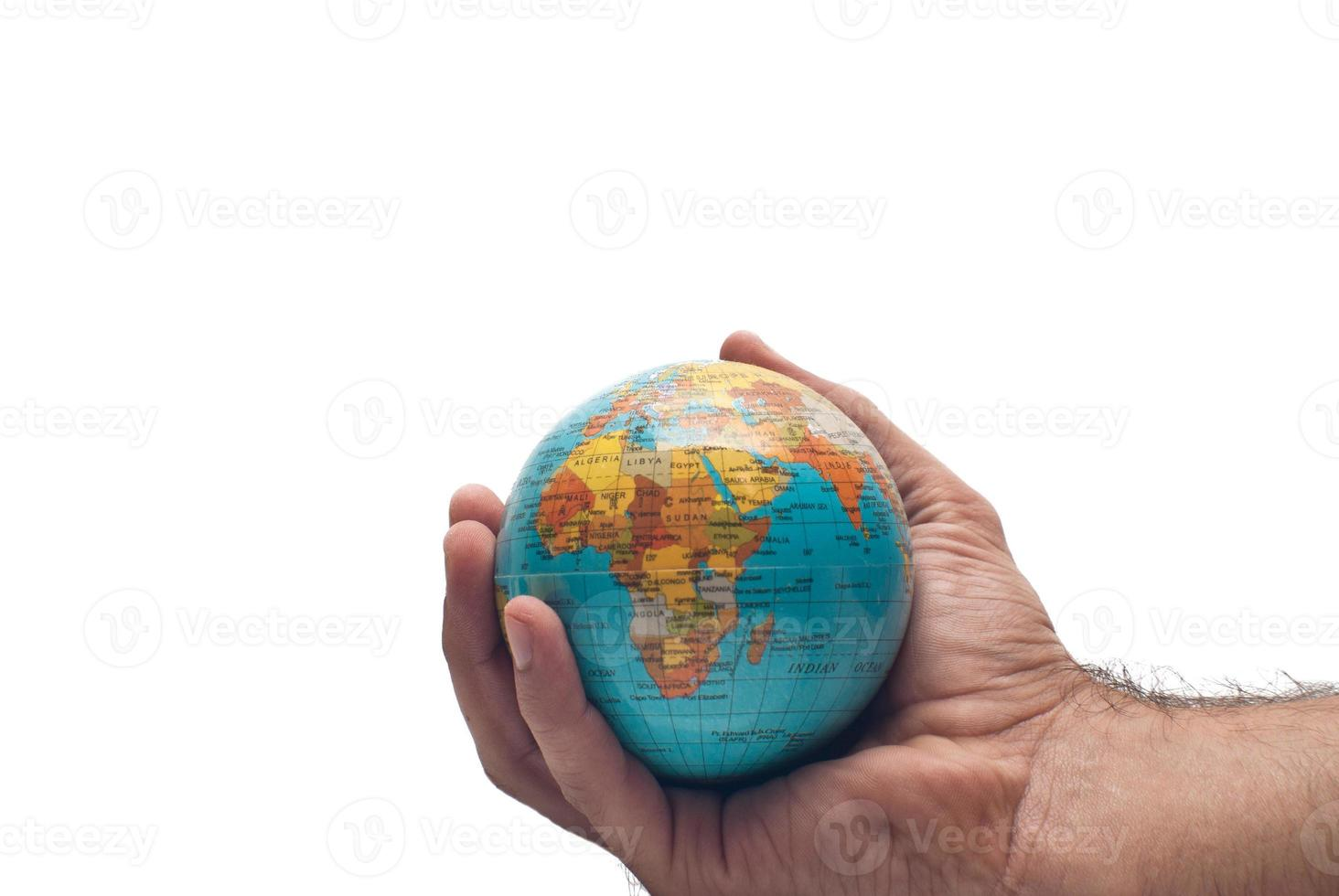 world in hand isolated photo
