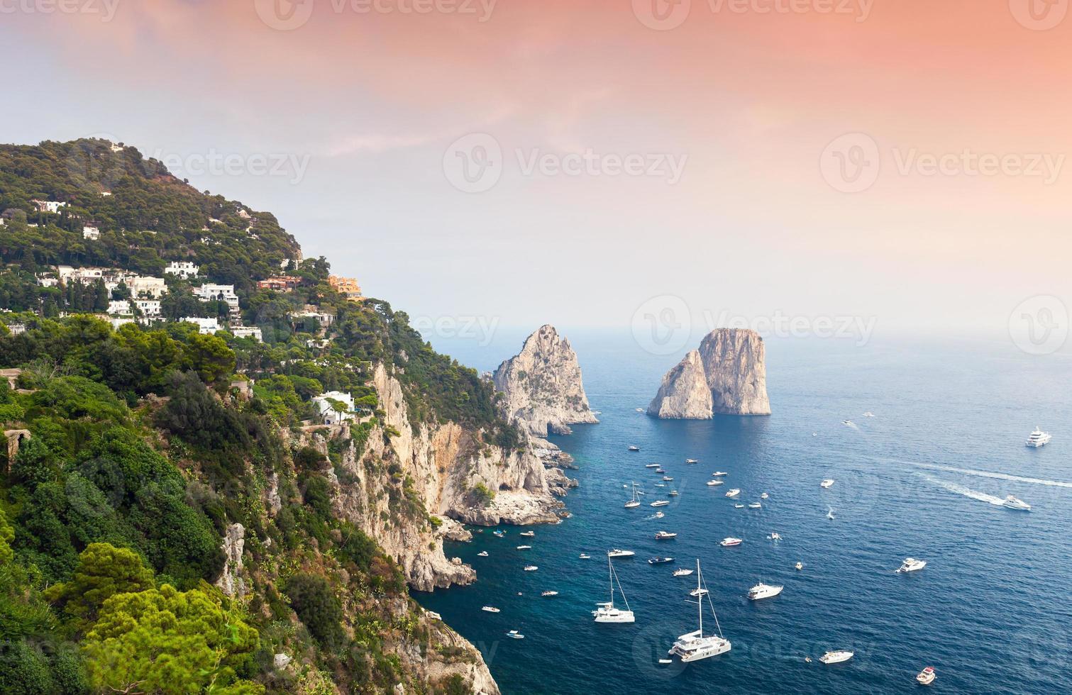 Capri, Italy. Mediterranean Sea coastal landscape photo