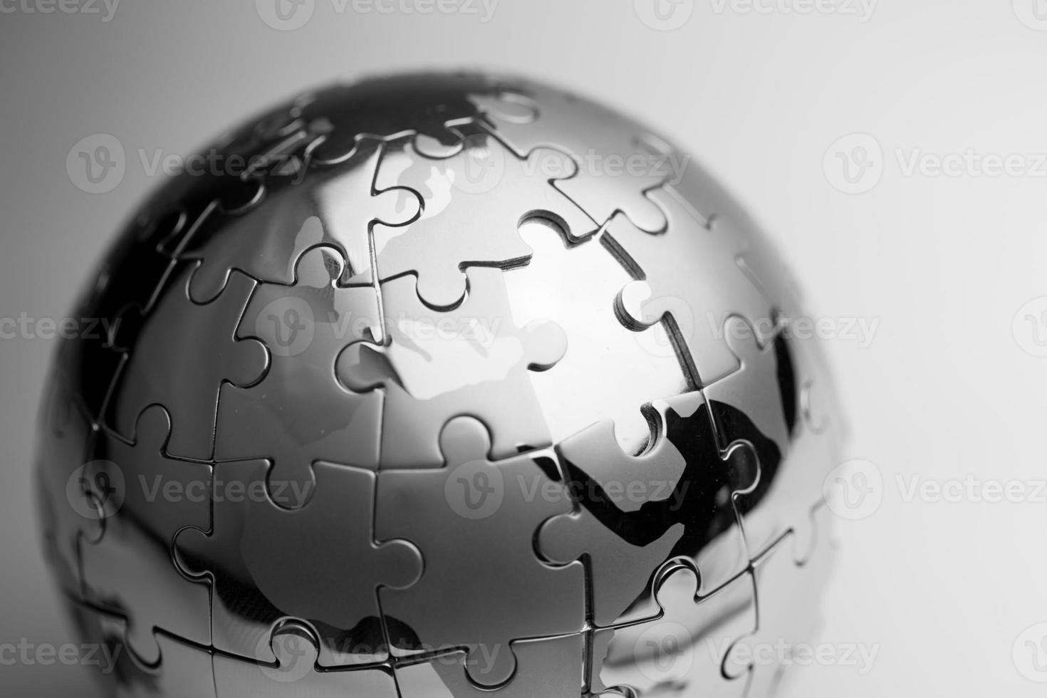 Global strategy  & solution business concept, jigsaw puzzle photo
