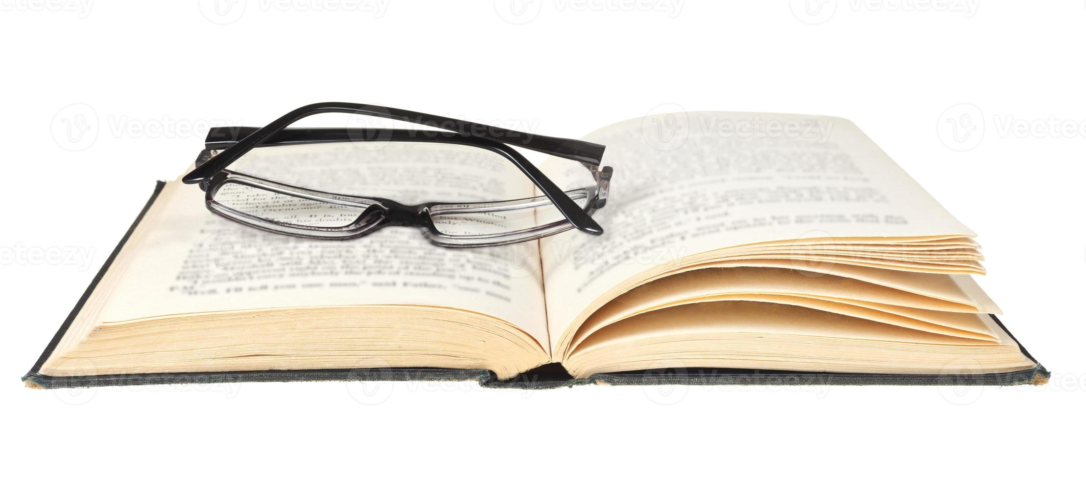 open book isolated on white background photo