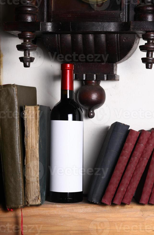Red wine and books photo