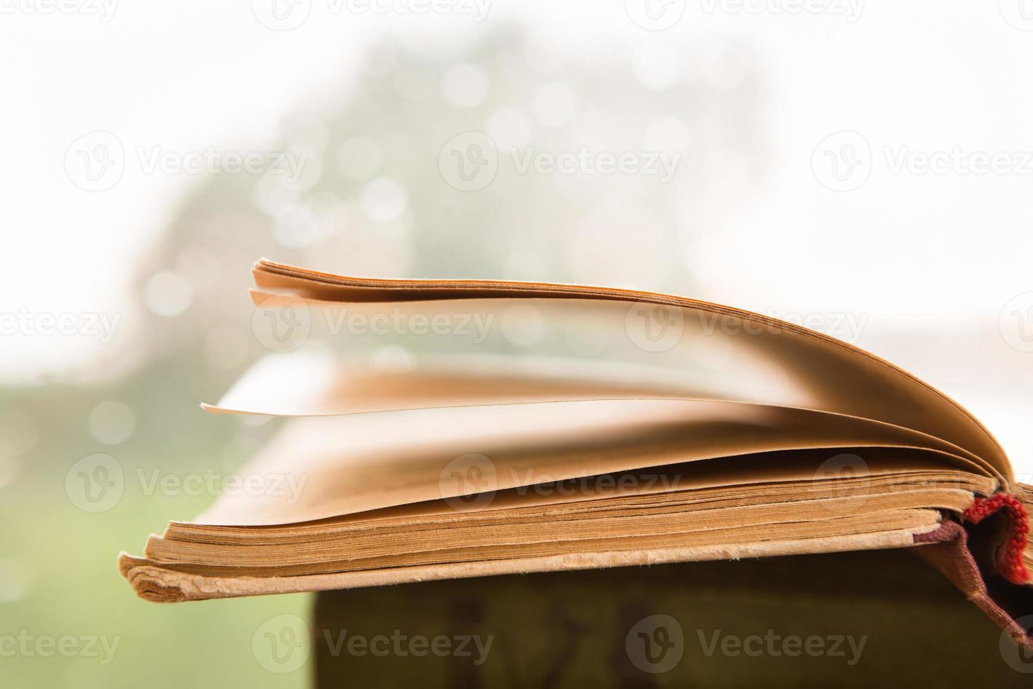 livre ouvert sur le fond de la fenêtre pluvieuse photo