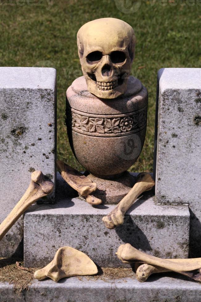 cráneo y huesos en la cripta foto