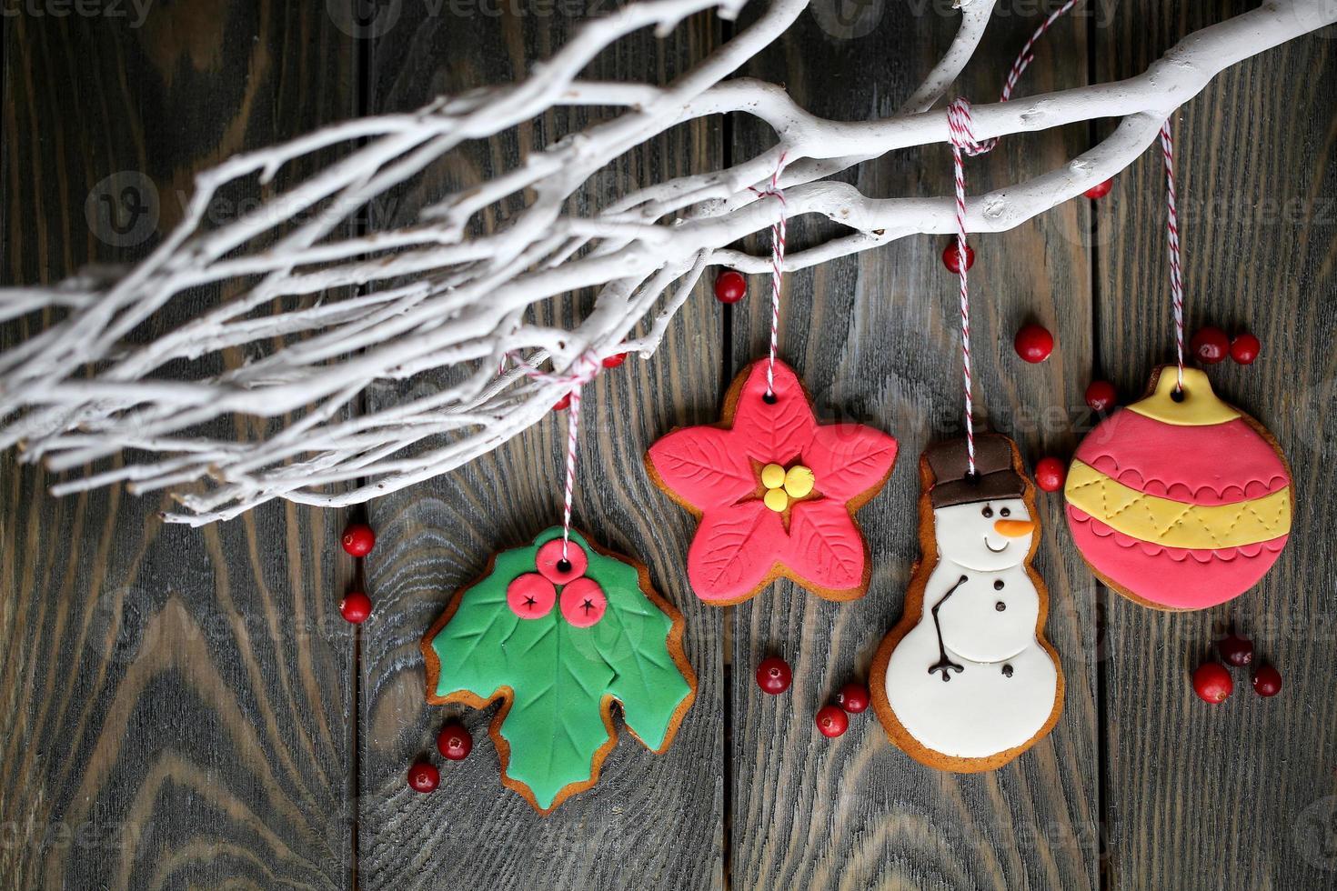 Kerstdecoratie met peperkoek foto