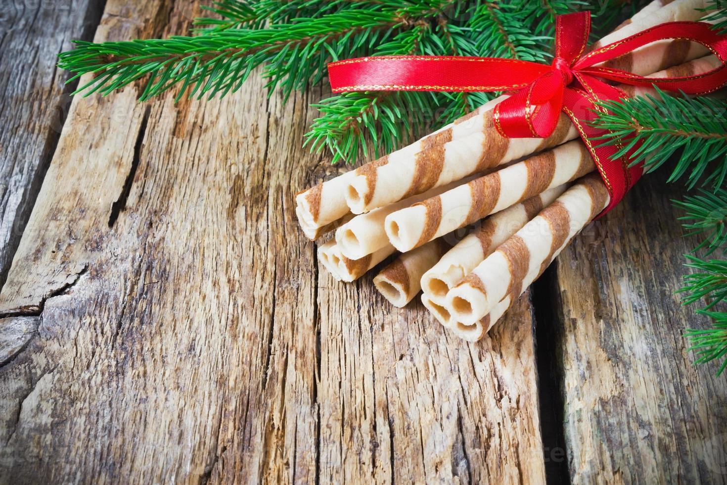gestreepte kerstkoekjes foto