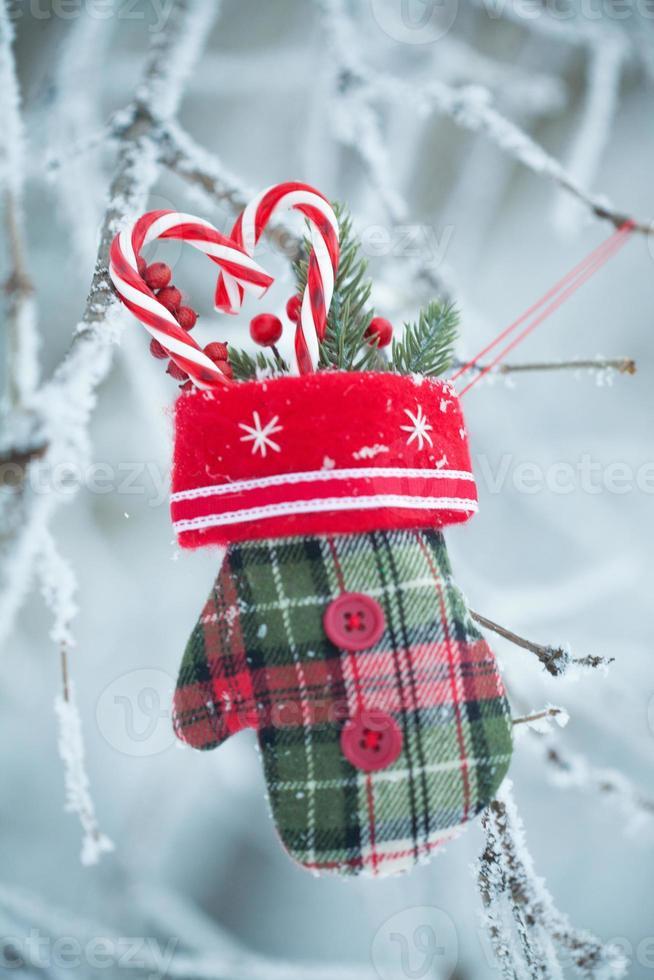 wenskaart met kerst spullen foto