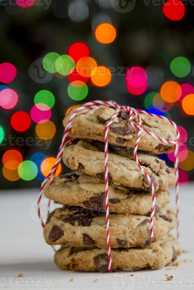 chocolate chip cookie-stack voor kerstboom foto