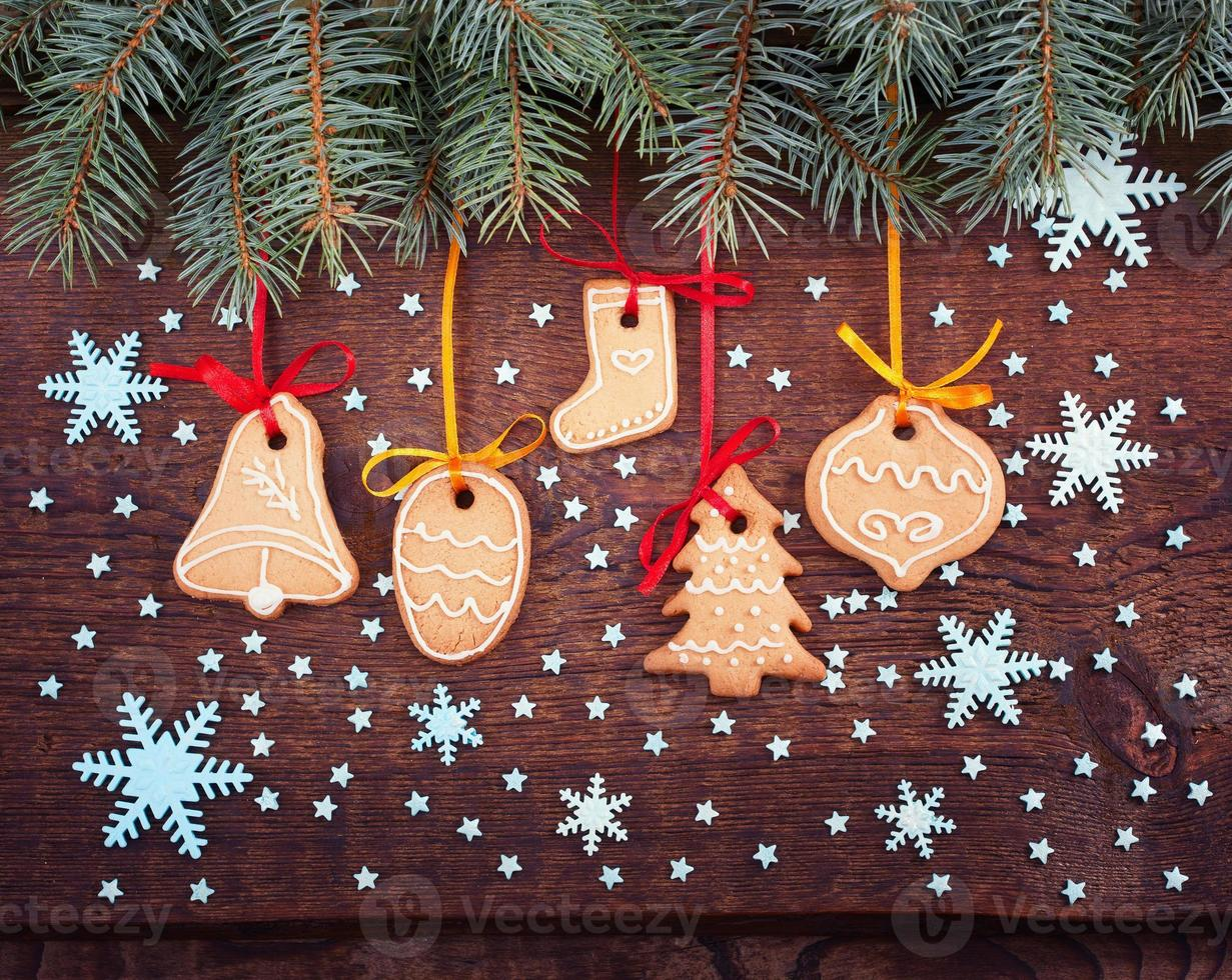 Christmas cookies handmade lies on wooden background. photo