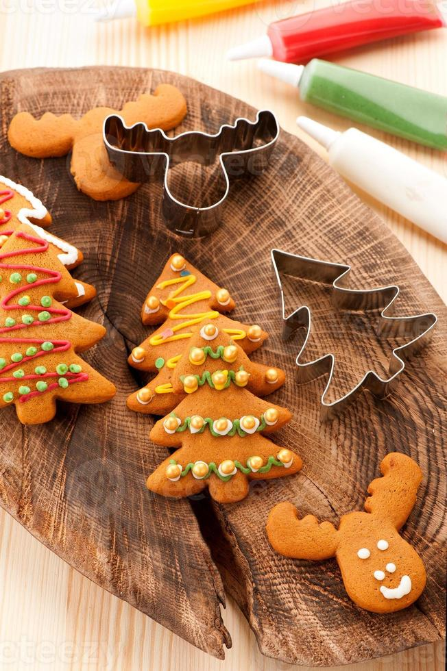 Christmas  gingerbread cookies. baking background photo