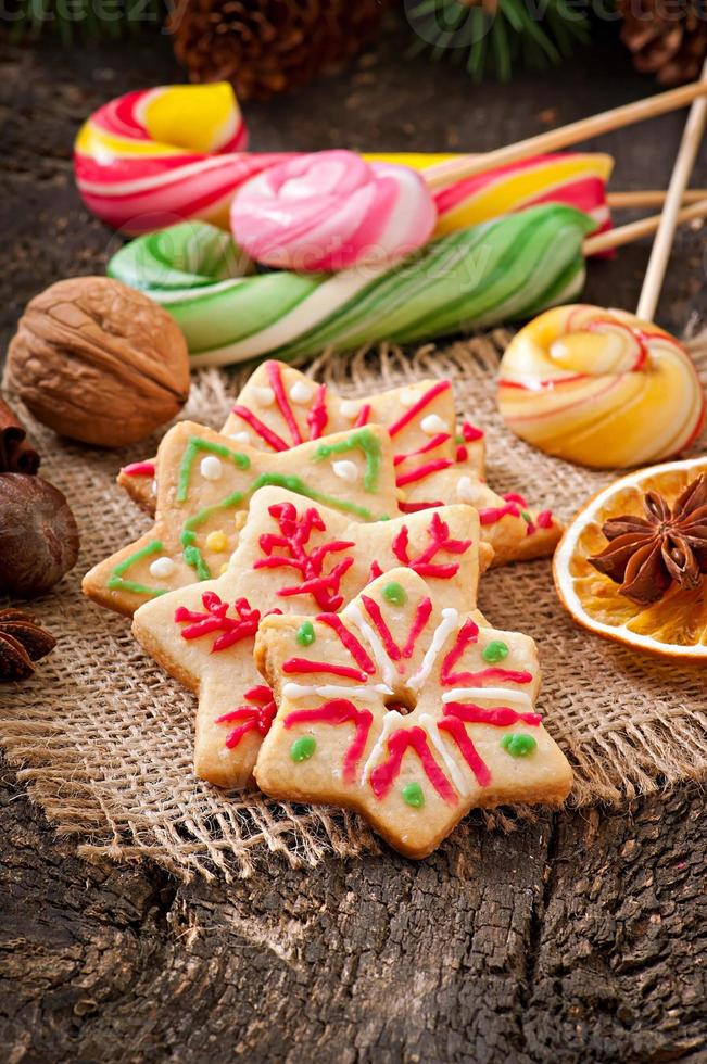 Christmas gingerbread cookies and lollipops photo