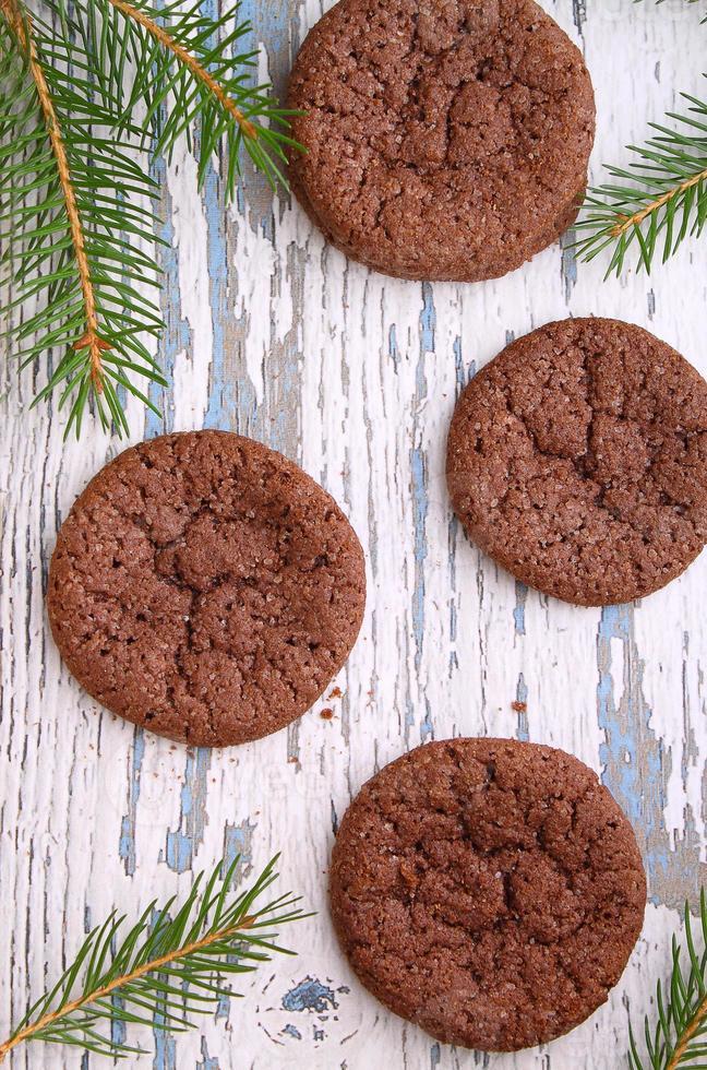biscuits aux pépites de chocolat, branche de sapin photo
