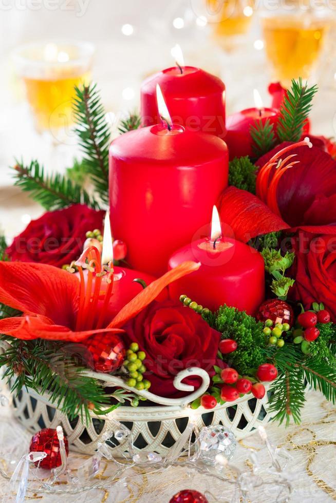 mesa navideña festiva foto