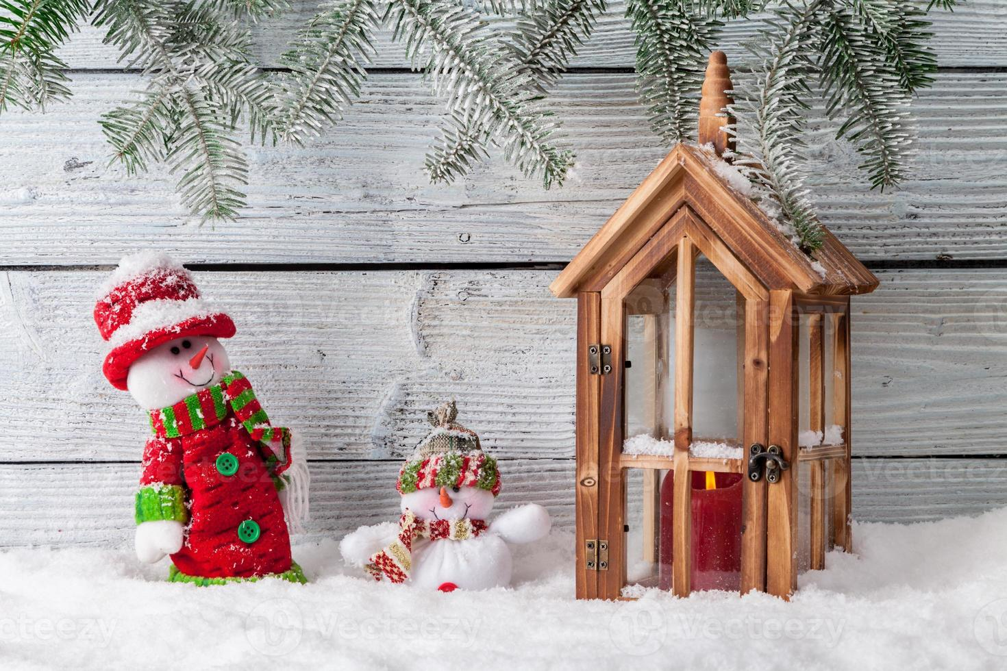 Christmas still life decoration with wooden background photo