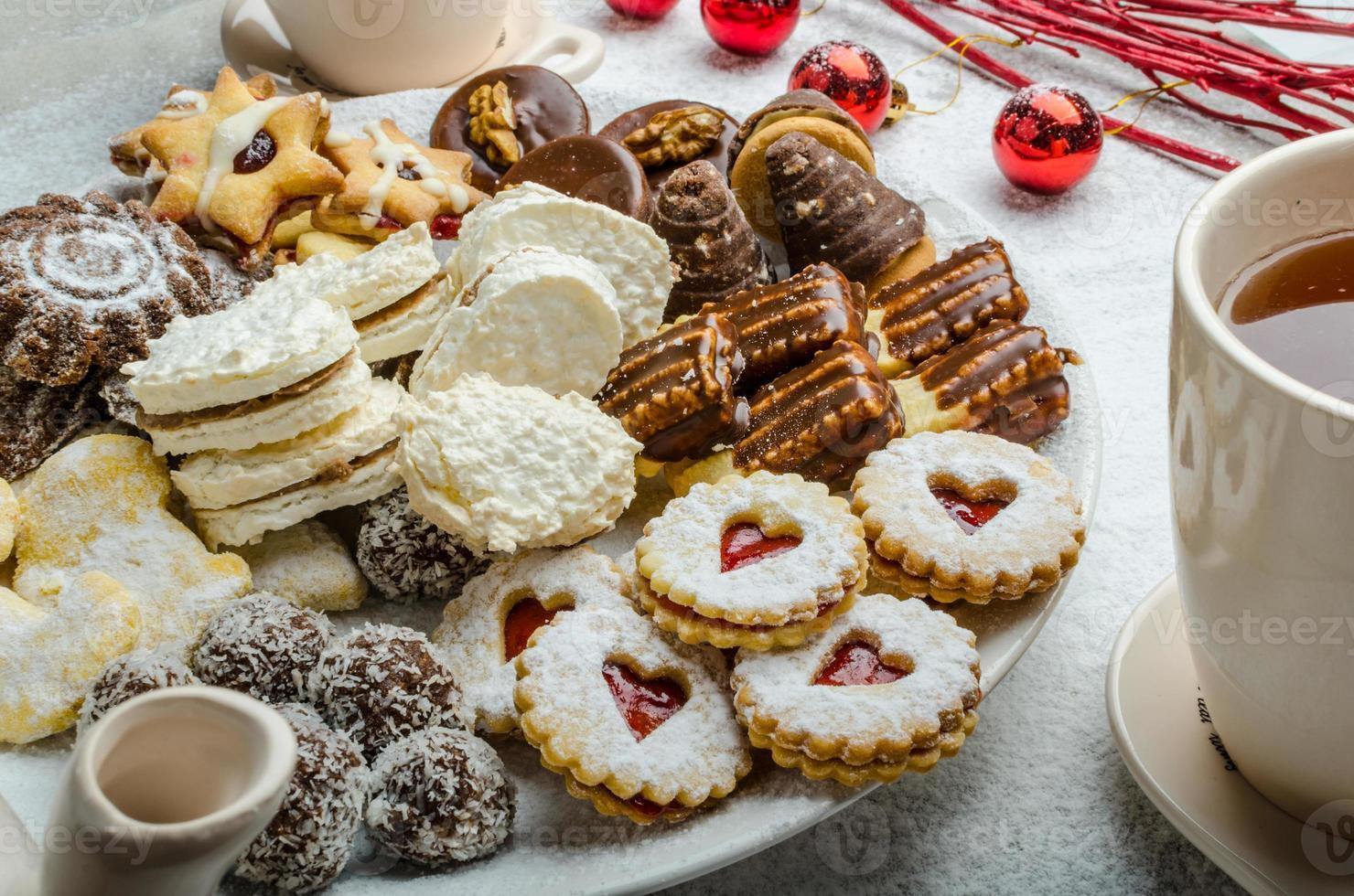 Christmas cookies and fresh tea photo