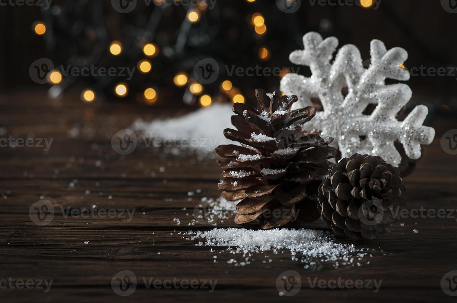 Christmas card with snow and balls photo