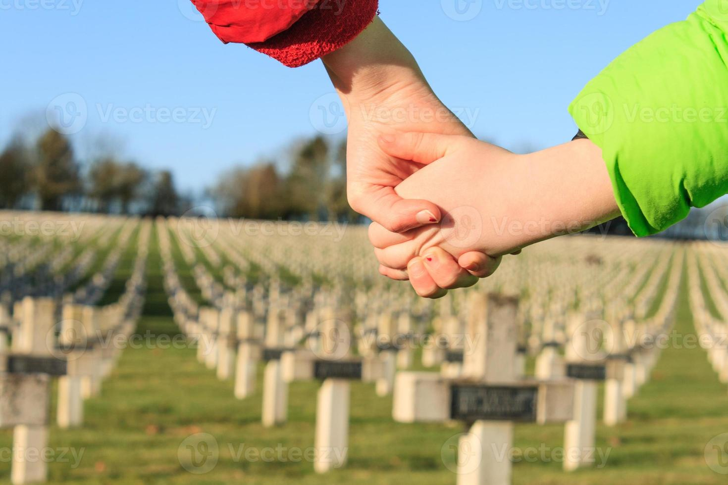 children walk hand in hands for peace world war 1 photo
