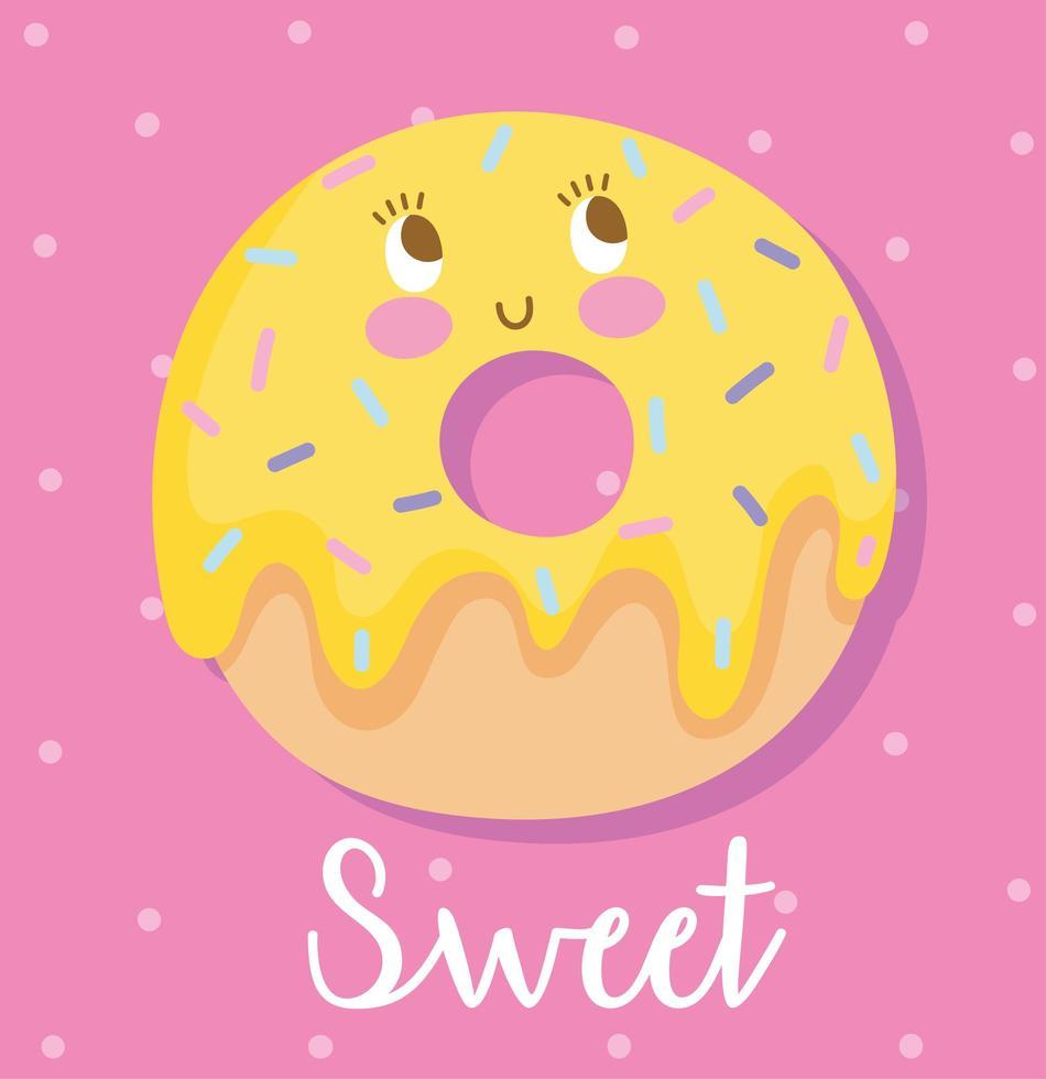 Cute cartoon sweet donut character design vector