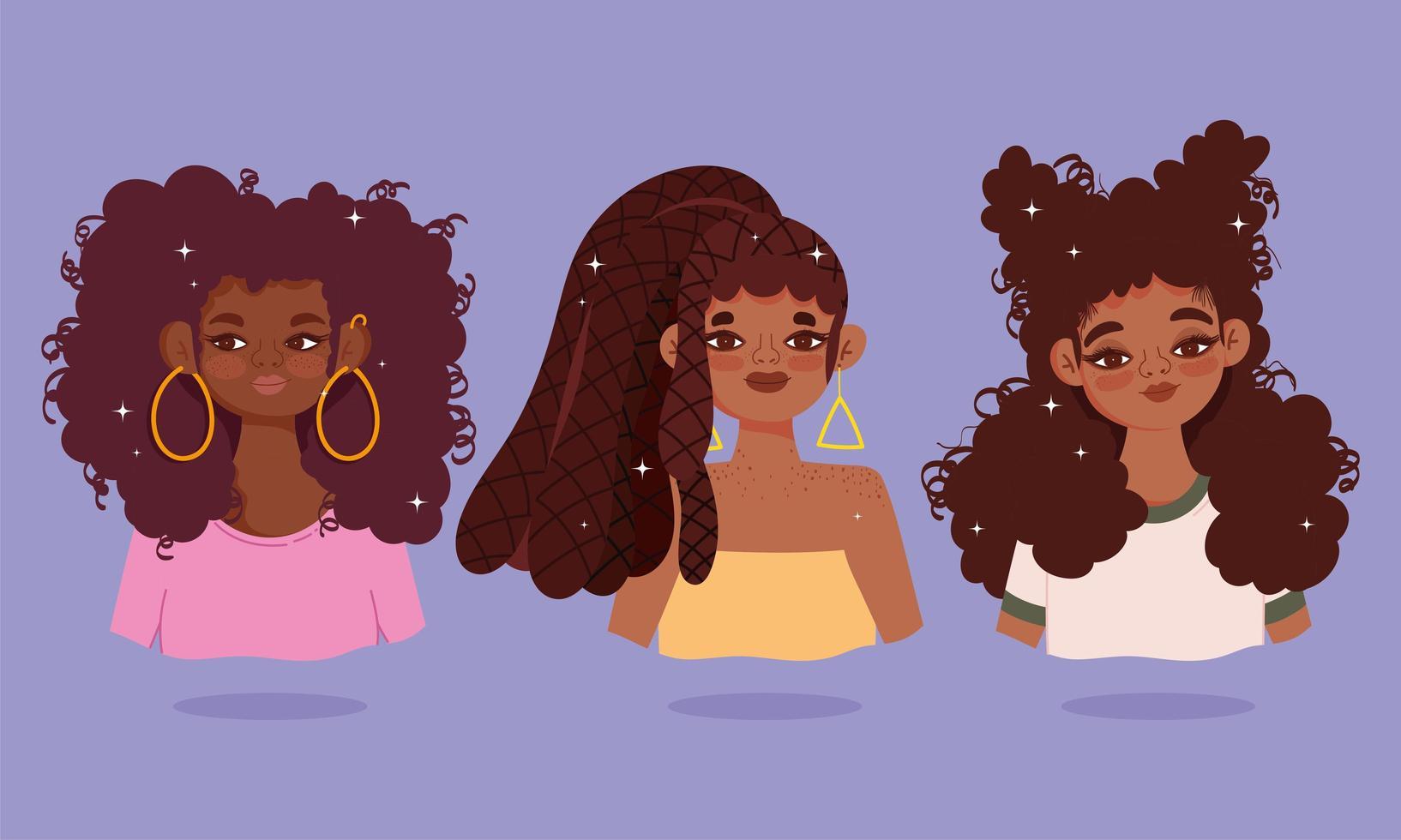 Set of African American young women  vector