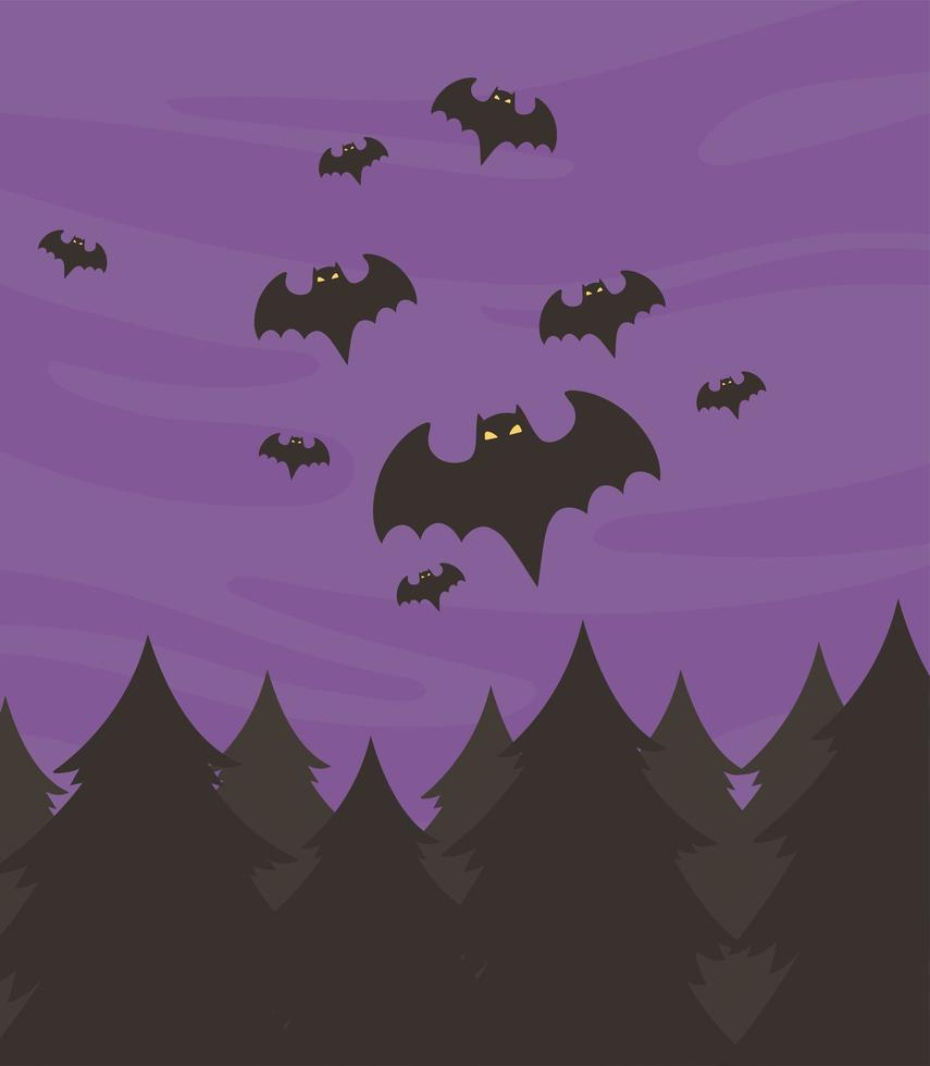 Flying bats flock. Creepy halloween bat fly from cave. Scary nocturnal  animal at sky horizontal divider vector illustration Clip Art | k60785146 |  Fotosearch