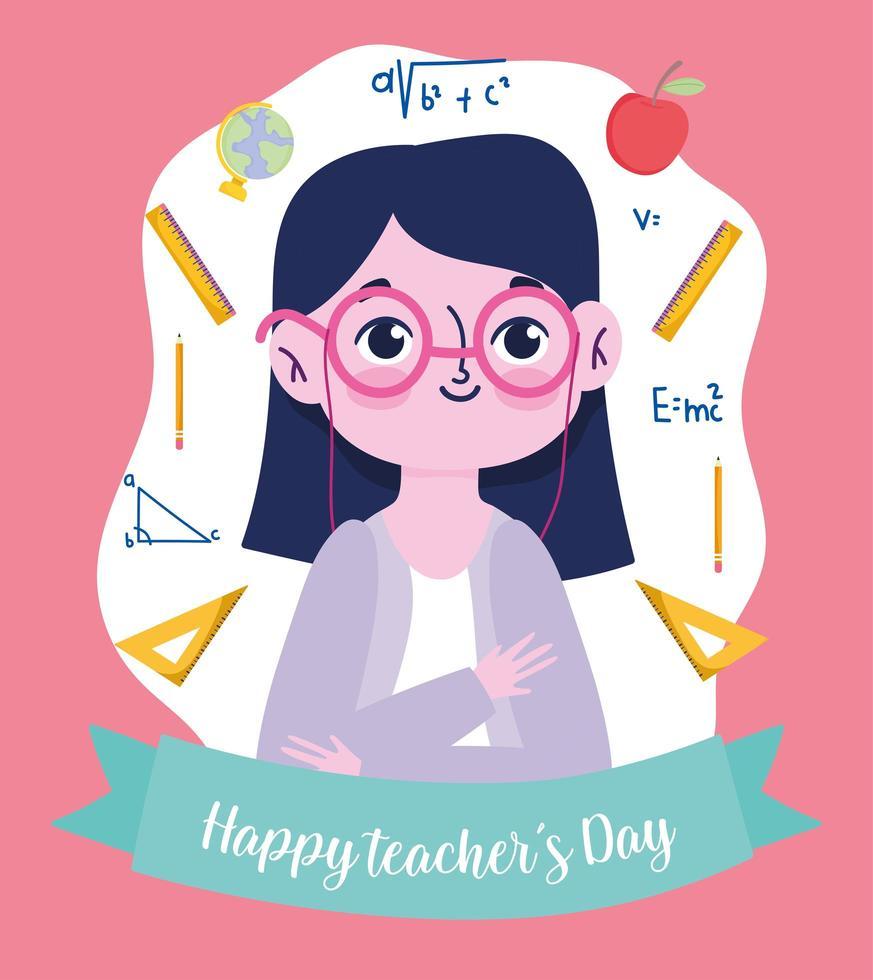 feliz dia del maestro, maestro con útiles escolares vector