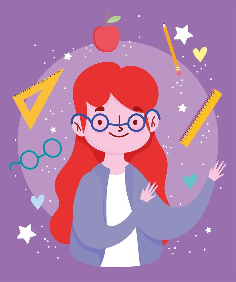 feliz dia del maestro, maestro con gafas vector
